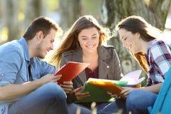 Drei Studenten, die Leseanmerkungen lernen Stockbild