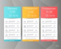 Drei Tariffahnen Netzpreiskalkulationstabelle Vektordesign für Netz-APP Lizenzfreie Stockbilder