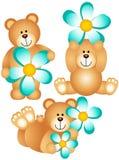 Drei Teddybären mit blauer Blume lizenzfreie abbildung