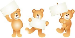 Drei Teddybären mit Schildern lizenzfreie abbildung