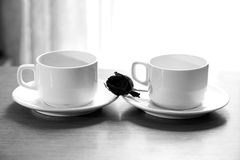 Drei Teecup auf Saucers Lizenzfreie Stockfotografie