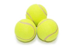 Drei Tenniskugeln getrennt Lizenzfreies Stockbild