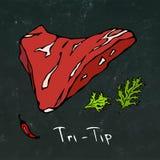Drei-Tipp-Steak-Schnitt-Vektor lokalisiert auf Tafel-Hintergrund Stockbilder