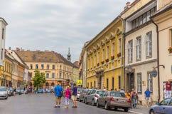 Drei Touristen in der alten Stadt von Budapest, Ungarn Lizenzfreie Stockfotos