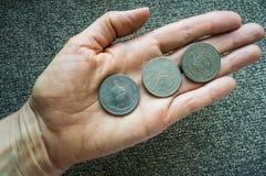 Drei tunesische Münzen auf dem woman& x27; s-Palme Stockbild
