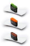 Drei Typen von gunkan: Meerespflanze, tobiko Kaviar und Lizenzfreie Stockfotografie