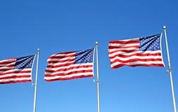 Drei US-Markierungsfahnen Lizenzfreie Stockfotografie