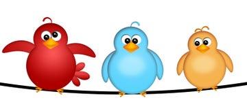 Drei Vögel auf einer Draht-Abbildung lizenzfreie abbildung
