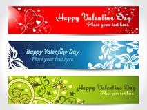 Drei Valentinsgruß-Inner-Fahne Stockfotos