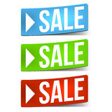 Drei Verkaufsaufkleber Lizenzfreie Stockfotos
