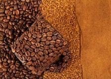 Drei verschiedene Arten Kaffee und Schale hergestellt von Stockbilder
