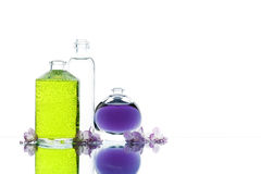 Drei verschiedene Flaschen mit Farbflüssigkeit und -blumen Lizenzfreie Stockfotos