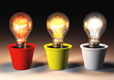 Drei verschiedene Glühlampen Stockbilder