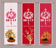Drei vertikale Fahnen stellten für chinesisches neues Jahr des Hahns ein Stockbild
