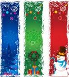 Drei vertikale Weihnachtsfahnen Stockbild