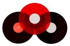Drei Vinylaufzeichnungen auf weißem Hintergrund Lizenzfreie Stockfotos