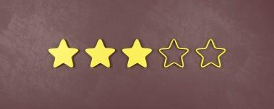 Drei von fünf veranschlagenden Sternen, mittlere veranschlagende Konzepte lizenzfreie abbildung