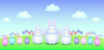 Drei Weiß Osterhase auf dem Feld Stockfoto