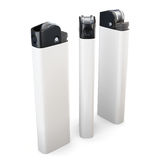 Drei weiße Feuerzeuge lokalisiert auf weißem Hintergrund Wiedergabe 3d lizenzfreie stockfotos