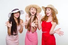 Drei weibliche Freunde auf weißem Hintergrund Stockbild
