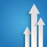 Drei weißer Pfeil-Wachstums-Blau-Hintergrund Stockfoto