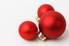 Drei Weihnachtsbälle Stockbild