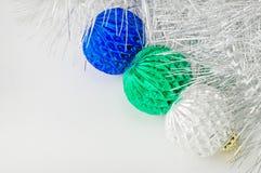 Drei Weihnachtsdekorationen Stockfotos