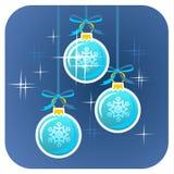Drei Weihnachtskugeln Stockfoto