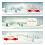 Drei Weihnachtslandschaftsfahnen. Lizenzfreies Stockfoto
