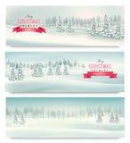 Drei Weihnachtslandschaftsfahnen Lizenzfreie Stockbilder