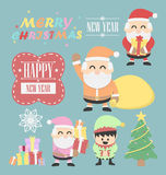 Drei Weihnachtsmann-vntage mit Elfenelementsatz Lizenzfreies Stockbild
