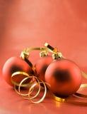Drei Weihnachtsspielwaren lizenzfreies stockbild