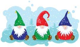 Drei Weihnachtszwerge Lizenzfreies Stockbild