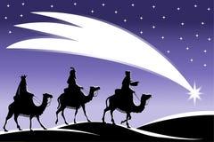 Drei weise Männer, die dem Stern folgen Stockbild