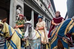 Drei weise Männer zu Pferd, in Florenz Stockbild