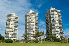 Drei Wohngebäude auf der Allee Stockfotografie