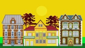 Drei Wohnhäuser stock abbildung