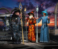 Drei Zauberer während der Beratung 01 Stockfoto
