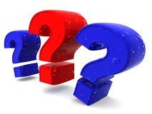 Drei Zeichen auf einer Frage Stockfotos