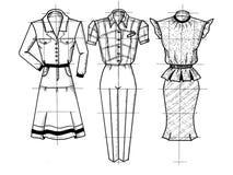 Drei Zeichnungen von Kleidung Lizenzfreie Stockfotografie