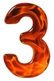 3, drei, Ziffer vom Glas mit einem abstrakten Muster eines flami Stockbild