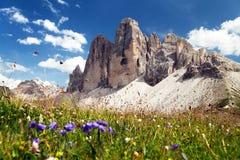 Drei Zinnen或Tre Cime di Lavaredo,意大利阿尔卑斯 免版税库存图片