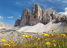 Drei Zinnen或Tre Cime di Lavaredo,意大利阿尔卑斯 免版税图库摄影