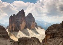 Drei Zinnen或Tre Cime di Lavaredo Dolomiten山 免版税库存照片