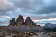 Drei Zinnen, alpi delle dolomia, Italia Immagine Stock