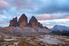 Drei Zinnen, alpi delle dolomia, Italia Immagini Stock