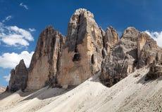 Drei Zinnen eller Tre Cime di Lavaredo, Italien fjällängar Royaltyfri Foto