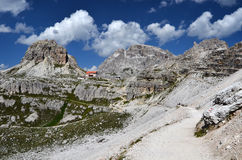 Drei Zinnen hut and Dolomites Sexten mountains Stock Photos