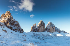 Drei Zinnen Lavaredo, alpi delle dolomia Immagini Stock Libere da Diritti