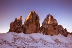 Drei Zinnen Lavaredo, Dolomitesfjällängar Royaltyfria Bilder